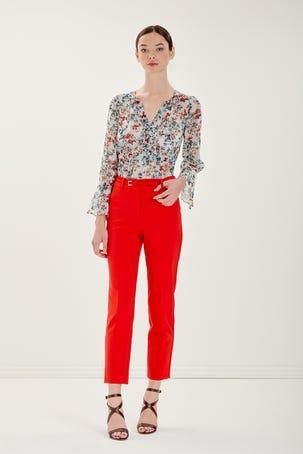 Pantalon Rojo Con Cinturon