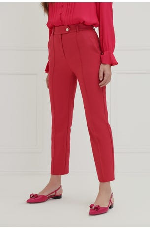 Pantalon Recto Rosa Con Costilla