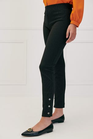 Leggings Textura Botones En Ruedo