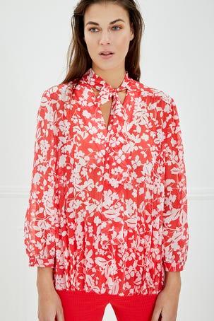 Blusa Plisada De Flores