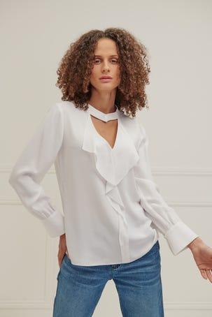 Blusa Blanca Con Escarola