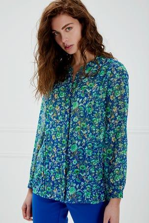 Blusa De Flores Manga Larga