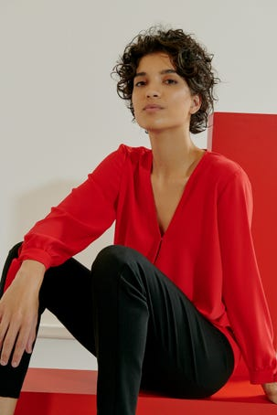 Blusa Roja Cruce Drapeado