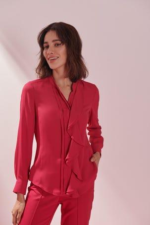 Blusa Rosa Con Escarola