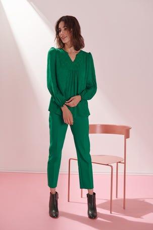 Blusa Verde Con Pliegues
