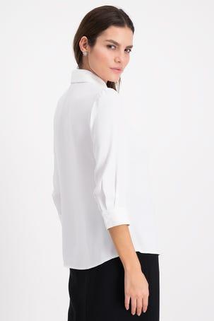 Blusa Blanca Con Corbatin