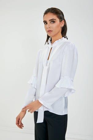 Blusa Blanca Con Escarolas