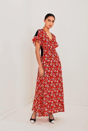 Vestido De Flores Rojo