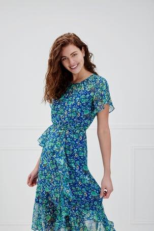 Vestido Azul Con Flores