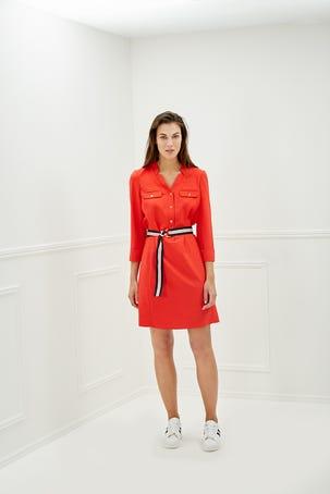 Vestido Rojo Con Botones