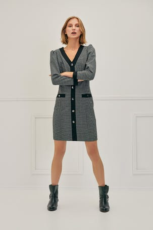 Vestido Ajustado  Escote V Ribetes En Contraste