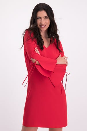 Vestido Rojo Manga Campana