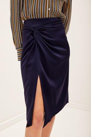 Falda Azul De Satin