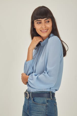 Blusa Relajada Azul