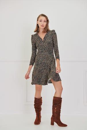 Vestido Punto Fit And Flare Con Detalle De Argolla