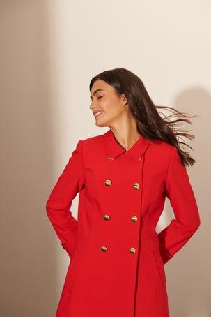 Abrigo Rojo Botones Oro