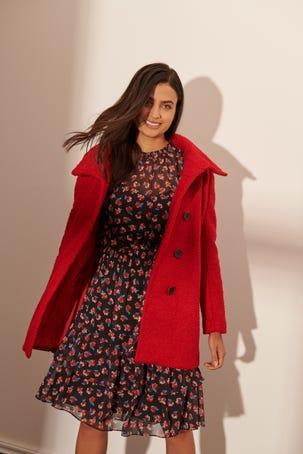 Abrigo Rojo con Botones al Frente