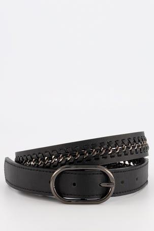 Cinturon Negro Con Cadena