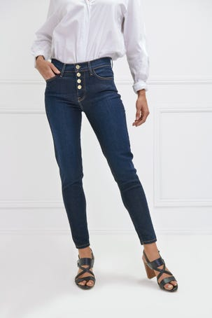 Jeans Oscuros Con Multiples Botones
