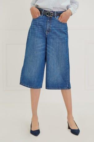 Jeans Culotte Tiro Alto