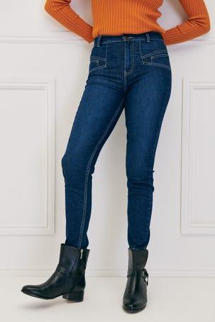 Jeans Skinny Cortes Diagonales