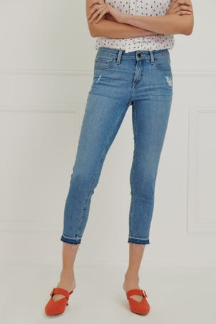 Jeans Skinny Cropped Cintura Media