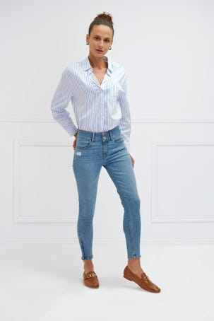 Jeans Claros Cropped Con Cierres