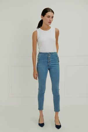 Jeans Claros Con Multiples Botones