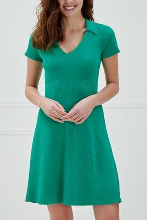 Vestido Verde Con Cuello