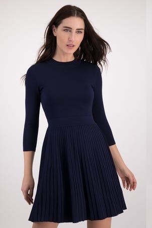 Vestido Azul Falda Plisada