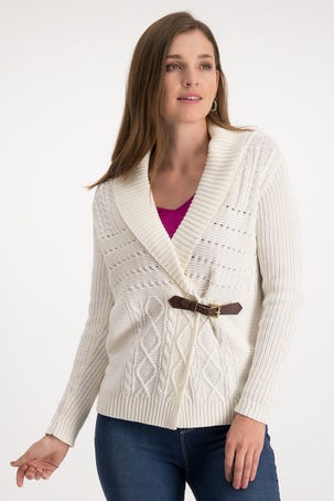 Suéter con Solapa y Cinturón al Frente