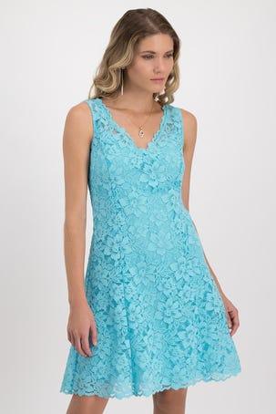 Vestido Azul De Encaje