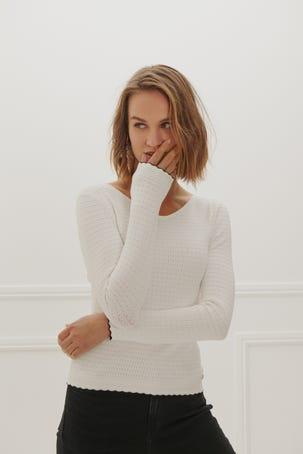 Suéter Escote V Vivos Contraste