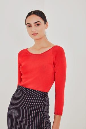 Suéter Rojo Escote Redondo
