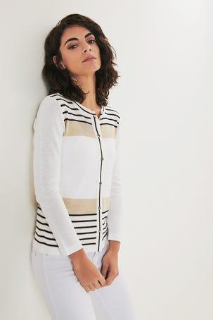 Suéter Blanco Con Franjas