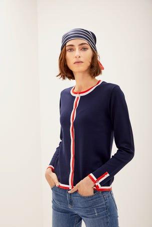 Suéter Azul Marino Con Contraste