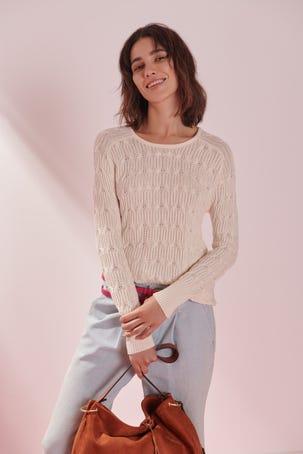 Suéter Tejido Combinado Off White