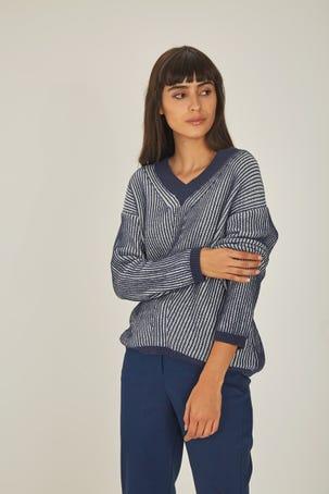 Suéter Relajado Tejido Bicolor