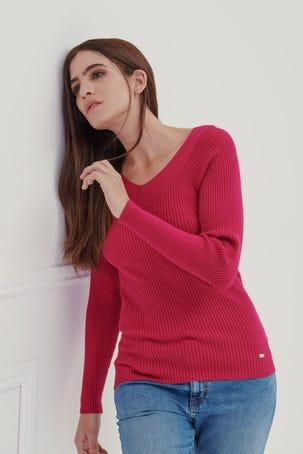 Suéter Entallado Rosa Escote V