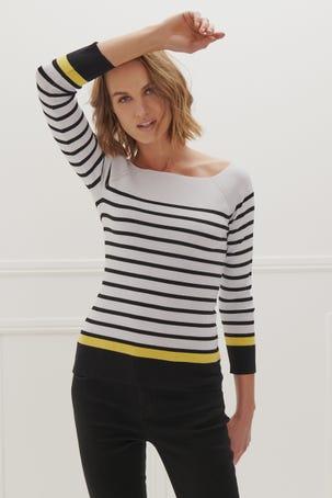 Suéter Escote Barco Rayas