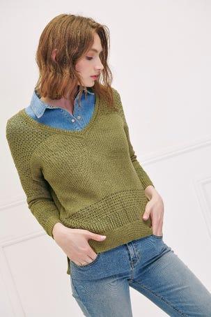 Suéter Calado Combinado