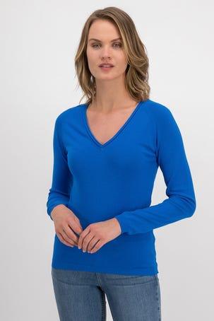Suéter Azul Escote V