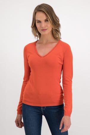 Suéter Naranja De Escote V