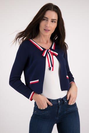 Suéter Azul Con Contraste