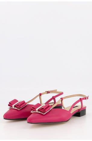 Zapato Flat Destalonado Moño Piel